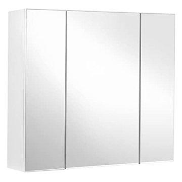 Spiegelschrank Badezimmerschrank Aufbewahrungsschrank Badezimmer 60 x 15 x 55 cm, mit Regal modern weiß