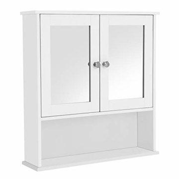 Spiegelschrank Badschrank Hängeschrank Spiegel mit Ablage Schminkschrank aus Holz 56 x 58 weiß