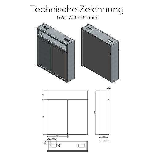 Spiegelschrank mit LED Beleuchtung 2-Türig 66 x 72 x 16,6 cm 17 Dekore Badschrank Beleuchtet Badezimmer -