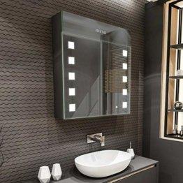 Spiegelschrank mit LED Beleuchtung 2-Türig 66 x 72 x 16,6 cm 17 Dekore Badschrank Beleuchtet Badezimmerschrank