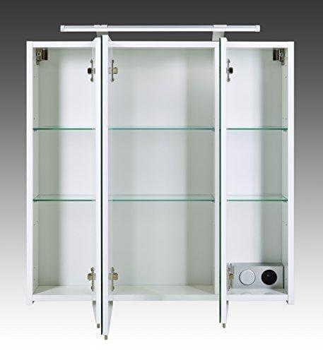 Spiegelschrank mit LED Lampe Badschrank mit viel Stauraum weiß 70 x 16 x 75 cm -