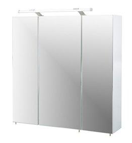 Spiegelschrank mit LED Lampe Badschrank mit viel Stauraum weiß 70 x 16 x 75 cm