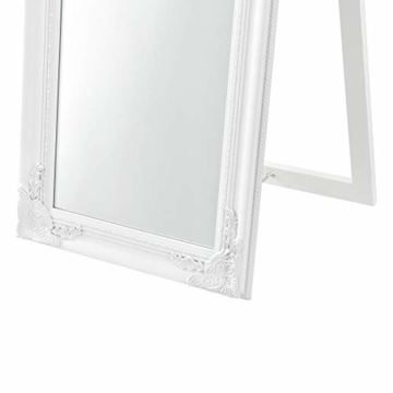 Standspiegel 160×40 cm Ganzkörperspiegel rechteckig Ankleidespiegel kippbar Barock Weiß -