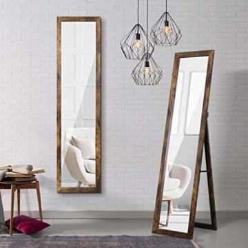 Standspiegel Ganzkörperspiegel mit Ständer Rustikaler Bauernhaus Wandspiegel Holz Ankleidespiegel Garderobenspiegel Flurspiegel 155cm