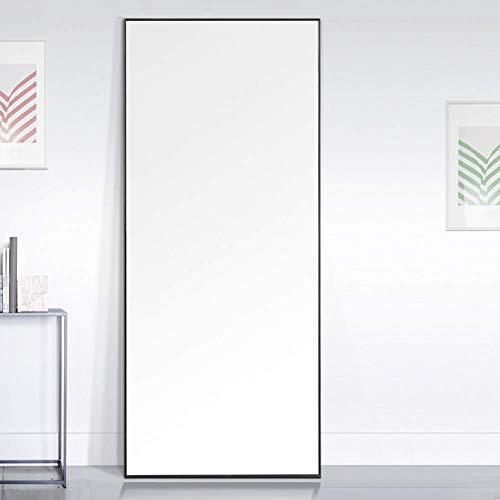 Standspiegel mit Schwarzen Metallrahmen 140x40cm Groß Ganzkörperspiegel Wohnzimmer oder Ankleidezimmer -