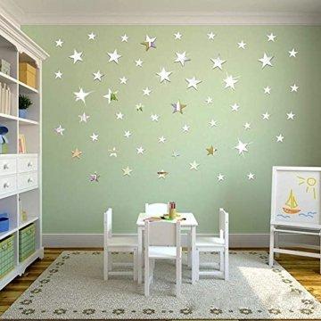 Sterne Spiegel Wandaufkleber Kunst Wandtattoos 3D Spiegel Wand Aufkleber fürs Schlafzimmer, Wohnzimmer, Haus Deko