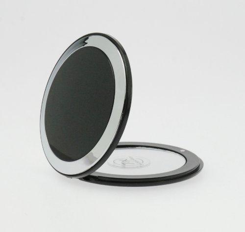 Taschenspiegel Rund zum Klappen Make Up Spiegel Makeup 8,5 cm Vergrößerung zweiseitig Edler Reise Klappspiegel Schwarz -