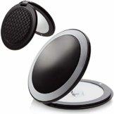 Taschenspiegel Rund zum Klappen Make Up Spiegel Makeup 8,5 cm Vergrößerung zweiseitig Edler Reise Klappspiegel Schwarz