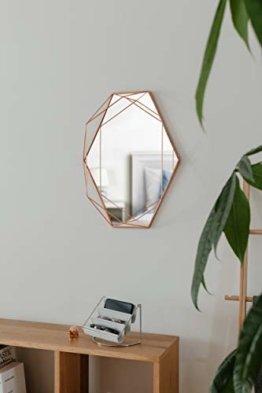 Prisma Wandspiegel Designerspiegel Geometrische Form Metall, Kupfer Rand Dekospiegel
