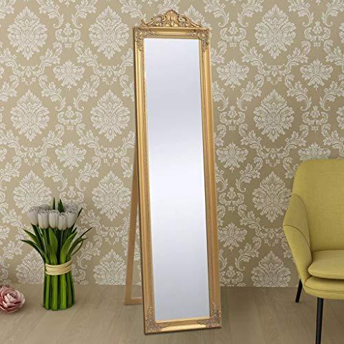 Standspiegel Ankleidespiegel im Barock-Stil Landhaus Antik 160x40 cm Weiß