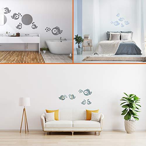 Wandaufkleber Fische & Blasen Spiegel Aufkleber Wandtattoos für Schlafzimmer Wohnzimmer Badezimmer Dekoration -