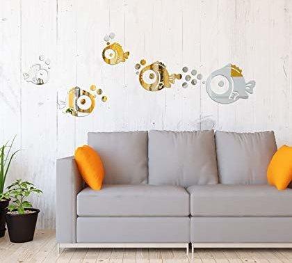 Wandaufkleber Fische & Blasen Spiegel Aufkleber Wandtattoos für Schlafzimmer Wohnzimmer Badezimmer Dekoration