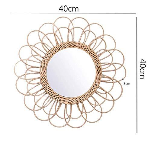 Wandbehang Spiegel Rattan Sonnenblumen Rund Wand Spiegel Dekor Boho Weidenkorb Verband Makeup Spiegel -