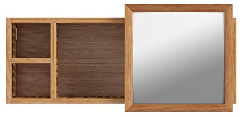 Wandregal mit Spiegel Walnuss natur verschiebbarer Spiegel Holz 80 cm Badezimmer -