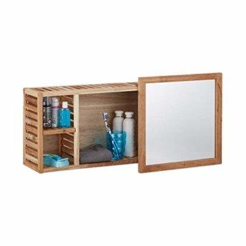 Wandregal mit Spiegel Walnuss verschiebbarer Spiegel geöltes Holz 80 cm breit besonders fürs Badezimmer natur