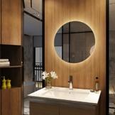 Wandspiegel Badezimmerspiegel LED Badspiegel mit Beleuchtung Spiegel Rund 60cm Dimmbar Lichtspiegel