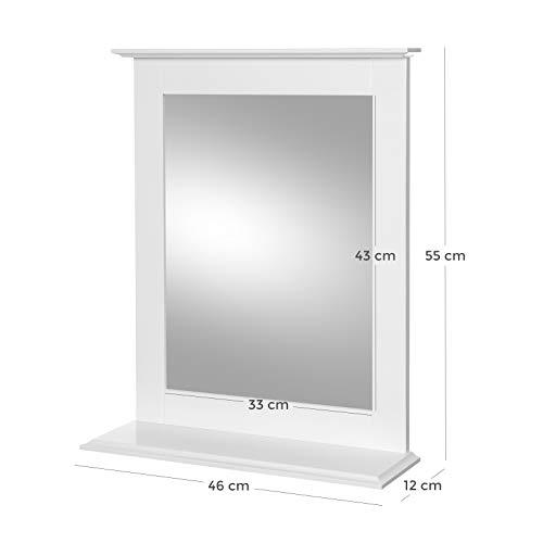 Wandspiegel, Badspiegel mit Ablage, Wandmontage, Schminkspiegel, für Schminktisch, 46 x 12 x 55 cm, mattweiß -