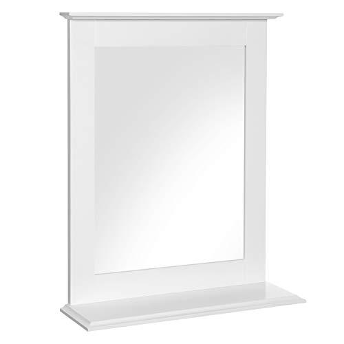 Wandspiegel, Badspiegel mit Ablage, Wandmontage, Schminkspiegel, für Schminktisch, 46 x 12 x 55 cm, mattweiß