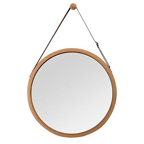 Wandspiegel Ledergürtel Riemen Runder Flur Design Spiegel Badspiegel mit 38cm braun