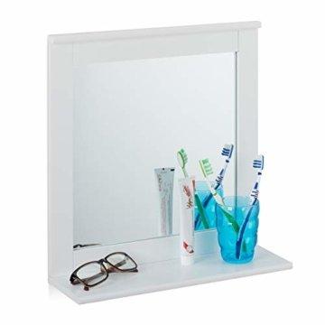 Wandspiegel mit Ablage Bad Wohnzimmer Flur eckig modern 42,5x40x13 cm Badezimmerspiegel weiß