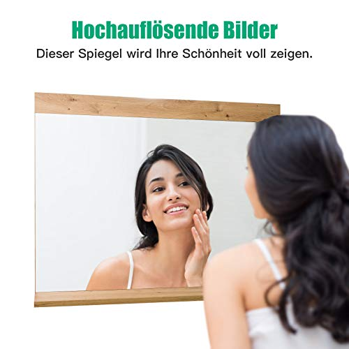 Wandspiegel mit Ablage Badspiegel Holz Spiegel Flurspiegel Holzspiegel Badezimmer Schlafzimmer 90x70cm -