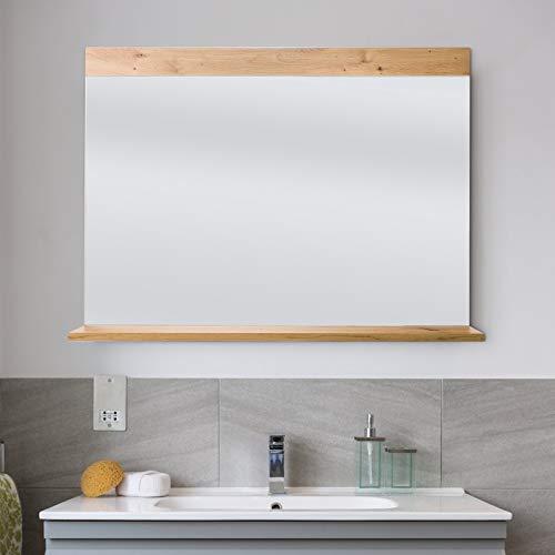 Wandspiegel mit Ablage Badspiegel Holz Spiegel Flurspiegel Holzspiegel Badezimmer Schlafzimmer 90x70cm