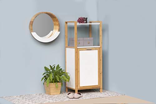 Wandspiegel mit Ablage Kosmetikspiegel Dekospiegel Spiegelfläche ø 35 cm Bambus 39 x 38 x 9.5 cm Natur Braun -