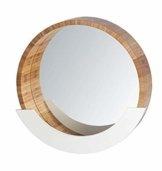 Wandspiegel mit Ablage Kosmetikspiegel Dekospiegel Spiegelfläche ø 35 cm Bambus 39 x 38 x 9.5 cm Natur Braun