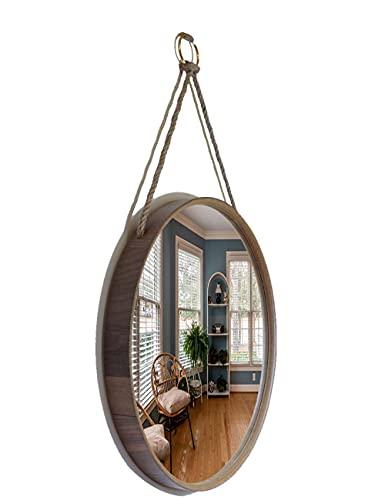 Wandspiegel runder Holz Spiegel Holz 48 cm Ø Seilaufhängung Holzrahmen Deko Spiegel, Badezimmer-Spiegel -