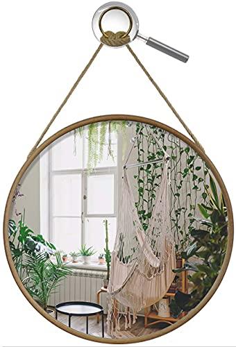 Wandspiegel runder Holz Spiegel Holz 48 cm Ø Seilaufhängung Holzrahmen Deko Spiegel, Badezimmer-Spiegel