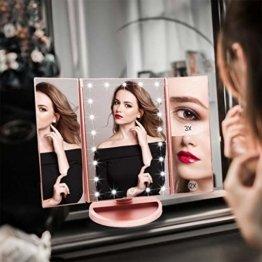 Schminkspiegel mit Beleuchtung Faltbarer Kosmetikspiegel mit Vergrößerung Licht Makeup Rosengold