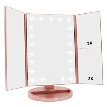 Schminkspiegel mit Beleuchtung Faltbarer Kosmetikspiegel mit Vergrößerung LED Licht USB dimmbarer Makeup Rosengold