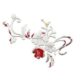 3D Spiegel Aufkleber Blumen Spiegel Wandtattoos Schlafzimmer Wohnzimmer Badezimmer Dekoration Silber