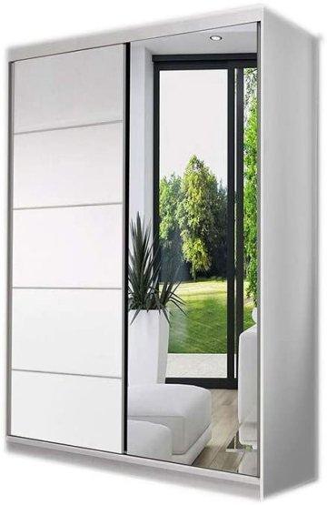 Kleiderschrank Schwebetürenschrank mit Spiegel 2-türig Schrank Gaderobe Schiebtüren 120x200x61 Weiß