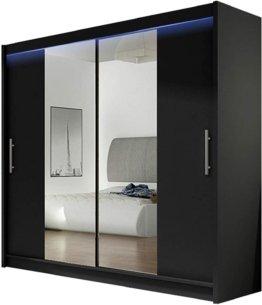 Kleiderschrank mit Spiegel Schiebetürenschrank Schwebetürenschrank Moderner Schlafzimmerschrank 180x215x58cm