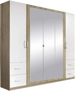 Schrank Drehtürenschrank mit Spiegel in Weiß Eiche Sanremo hell 5-türig BxHxT 226x210x54 cm