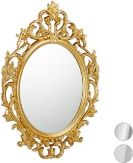 Goldener ovaler Barock Spiegel zum Aufhängen Antik Barock Design mit Rahmen Flur Bad & Wohnzimmer