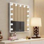 BEAUTME Hollywood Schminkspiegel mit Lichtern Schlafzimmer beleuchteter Stehtischspiegel LED-Kosmetik Schönheitstischspiegel