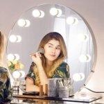 Chende Runder Schminkspiegel mit Licht für Schminktisch, Hollywood Spiegel mit Beleuchtung großer Professioneller Kosmetikspiegel