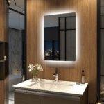 Meykoers Wandspiegel Badezimmerspiegel 50x70cm mit Touch Schalter, LED Badspiegel mit Beleuchtung