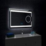 Quavikey LED Badspiegel Badezimmer Spiegel LED Licht Beleuchtung Wandspiegel Vergrößerung Antibeschlag Touch Schalter Dimmbar