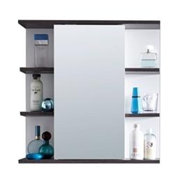 Badezimmer Spiegelschrank Spiegel mit viel Stauraum und offenem Fächern 60 x 60 x 20 cm in Weiß Rauchsilber