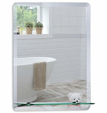 Badezimmer Wandspiegel Badspiegel mit Ablage modernes stilvolles Design in 3 Größen glas, silber