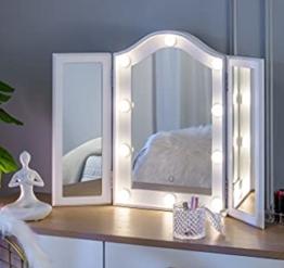 Dreifach Spiegel Hollywood Schminkspiegel mit LED licht Beleuchtung 3 Seiten faltbar Kosmetikspiegel Tischspiegel weiß
