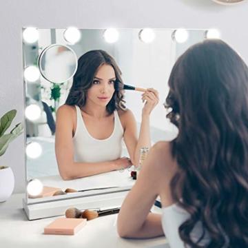 Hollywood Spiegel mit Beleuchtung Make up Schminkspiegel LED Tischspiegel Lampen Kosmetikspiegel  50 x 42 cm Weiß