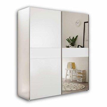 Eleganter Kleiderschrank mit großer Spiegeltür & viel Stauraum - Vielseitiger Schwebetürenschrank in weiß/anthrazit 170 x 195 x 58 cm