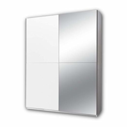 Eleganter Spiegel Kleiderschrank mit viel Stauraum & Spiegeltür, Vielseitiger Schwebetürenschrank in weiß 170 x 195 x 58 cm