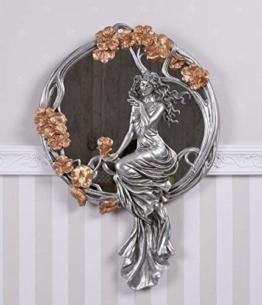 Frauenfigur Spiegel Jugendstil Frau Wandspiegel Relief Secession Wanddeko Palazzo Exklusives Design Luxuriös