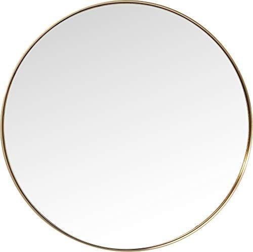 Goldener runder großer Wandspiegel Bad Design Spiegel Schminkspiegel 100x100x5cm