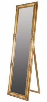 Großer Goldener Barock Standspiegel Handgefertigter Spiegel mit Holzrahmen u. schönen Verzierungen B. 50 x H. 180 cm